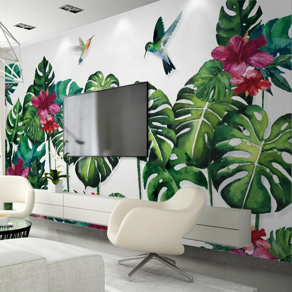 tropic feuilles des plantes feuille floral oiseaux papier. Black Bedroom Furniture Sets. Home Design Ideas