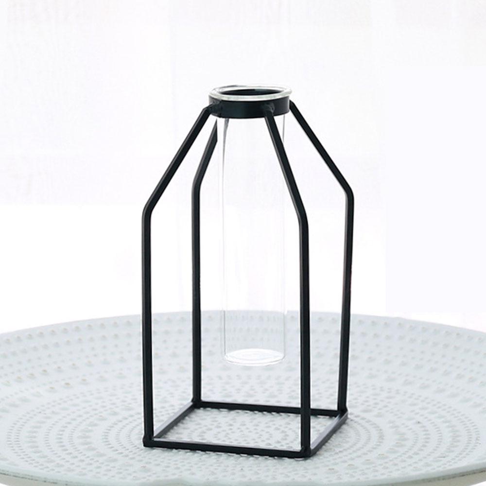 Цветочный горшок подставка для цветов кованая железная ваза гидропонная ваза Геометрическая креативная железная стеклянная - Цвет: 2