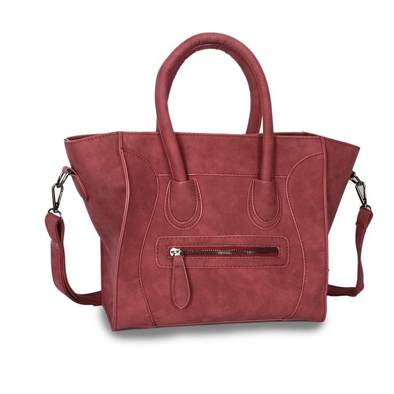58c3f6265414 Купить Модная женская сумка тоут из искусственной кожи со смайликом, женские  сумки через плечо, дизайнерские трапеции, сумка мессенджер, бренд 2018  Продажа ...