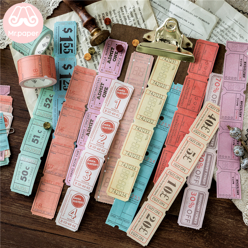 Mr Paper 12 Designs Creative Bill Notes Retro Style Bullet Journaling Writing Tape Deco Sticker Masking Tapes Easy To Tear