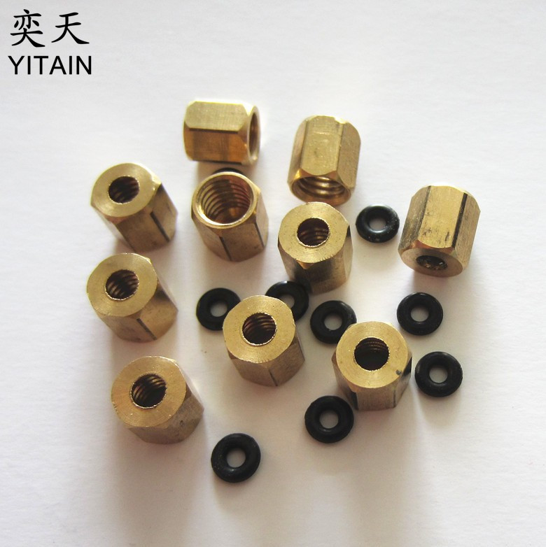 10 Pcs Printer Parts - Screw Cap Copper Screw With Sealing Rubber Ring O-rings For Small Damper And 3x2mm Ink Tube
