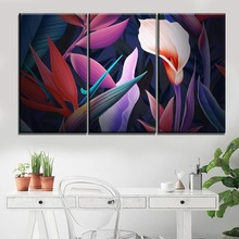 Wall Artwork Painting Modular Canvas Printed Modern Pictures 3 Panel Flowers Leaves Colorful Home Decoration Living Room