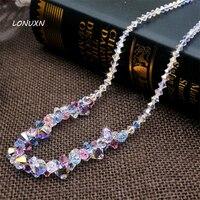 4 colors girls DIY pure handmade Austria Bohemia crystal beads necklace swan chain short wedding Europe high end women jewelry