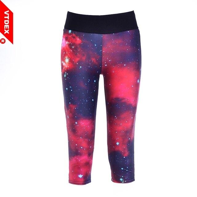 bf3918e48f113c 2018 Real VTDEX Yoga Fitness Legging Capri Women Galaxy Print Sports  Running Pants 3/4 Breathable Anti-sweat Elastic Gym Workout