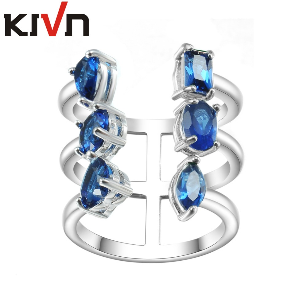 KIVN Fashion Jewelry Adjustable CZ Cubic Zirconia Wedding Bridal Engagement Rings For Womens Mothers Birthday Christmas Gifts