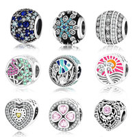 925 Sterling Silver Charm Beads With Mixed Shades Of Blue Sky Blue Clear Cubic Zirconia Fit
