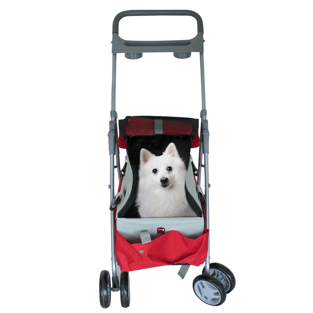 Collapsible pet stroller dog and cat four wheel trailer