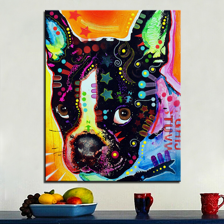 Large size Print Oil Painting Wall painting french bulldog
