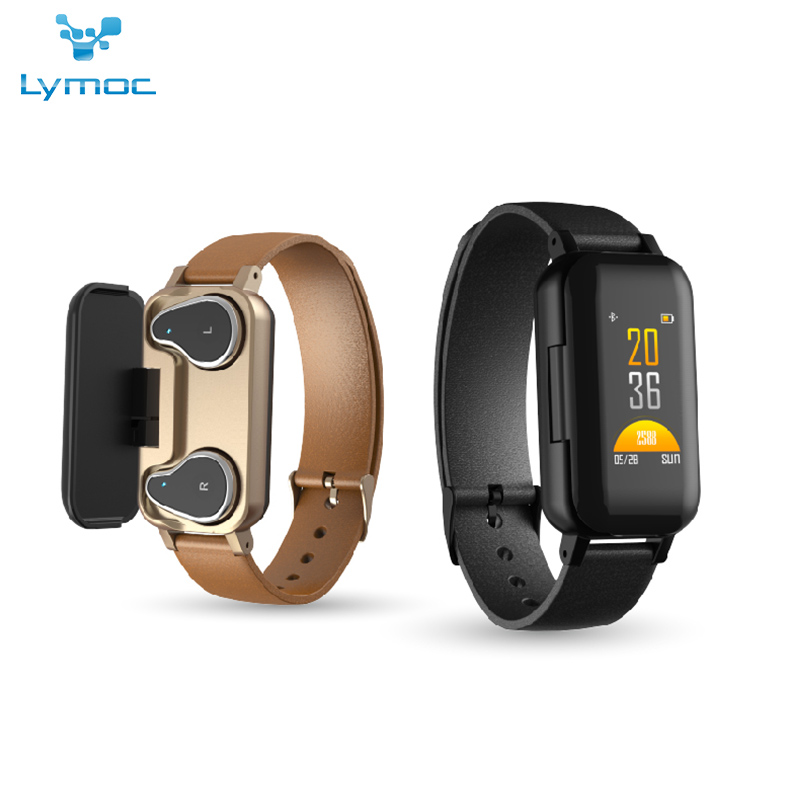 LYMOC Smart Watch 2 in 1 Wireless Earbuds 5 0 Bluetooth Headsets Touch Control Sports Wirstband