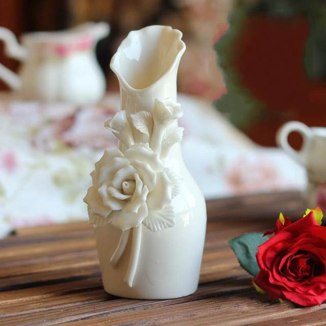 Online Shop Beautiful Rose Flower White Ceramics Vases Artifical
