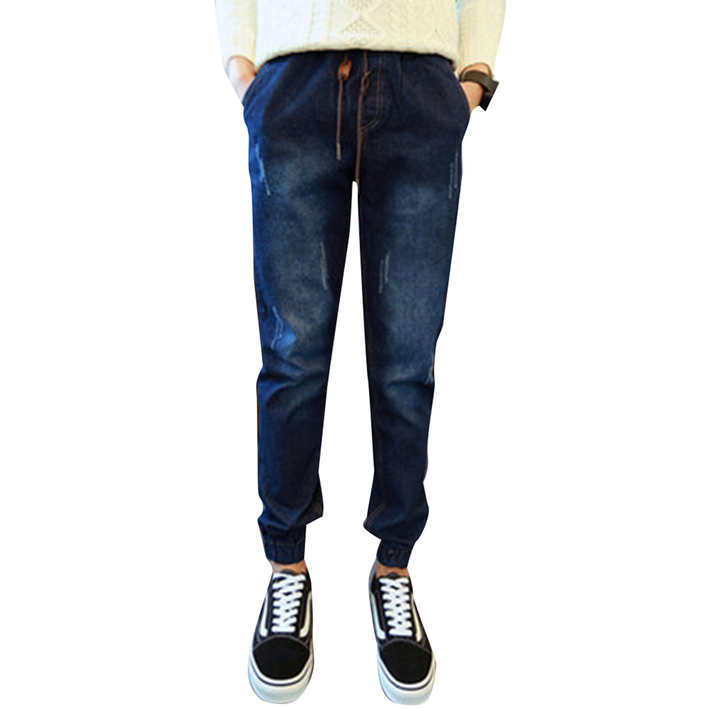 цены Brand new Men Boys Autumn Spring Elastic Ankle Banded Drawstring Waist Pants Casual Denim Harem Long Pant Jeans Popular