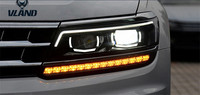 VLAND производитель для автомобиля фара для Tiguan светодиодный фары 2017 2018 головной свет с ангельскими глазками и движущимися поворотниками