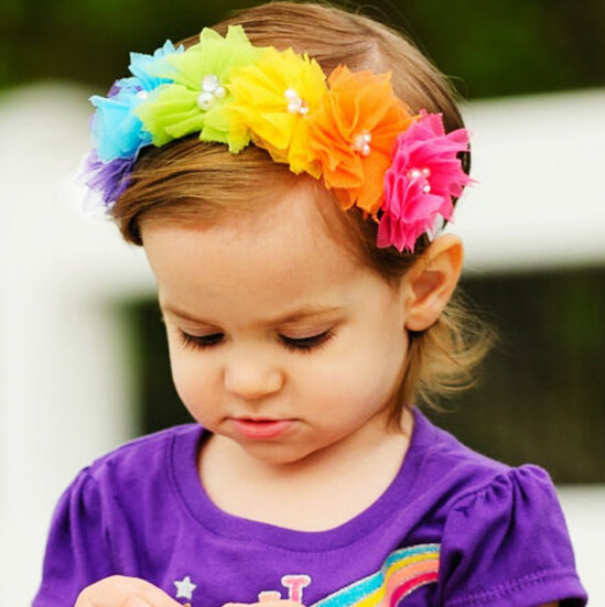 NEW Lace Headband Chiffon Flower Headband Hair Weave Band kids Hair Accessories Christmas Gifts rainbow color