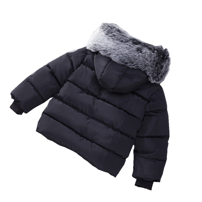 876b49c0d 1 7Y Toddler winter jackets baby cotton coats black hooded girls fur ...