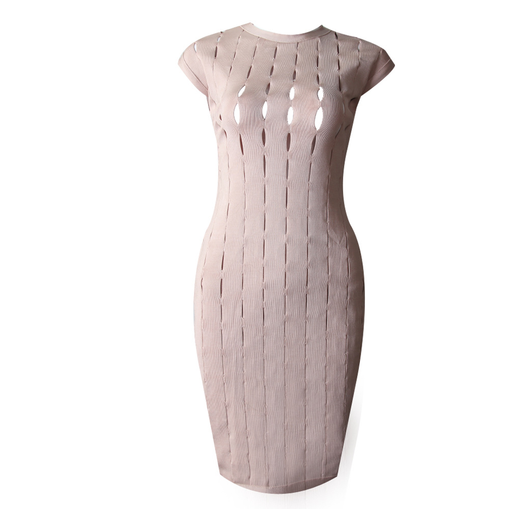 Top Quality Women Sexy Bodycon Sleeveless Party Bandage Dress Rayon Pink Black Knitted Hollow Out Elegant Pencil Dresses shining beauty top quality women sexy short sleeve black white bandage dress 2017 knitted elastic party dress