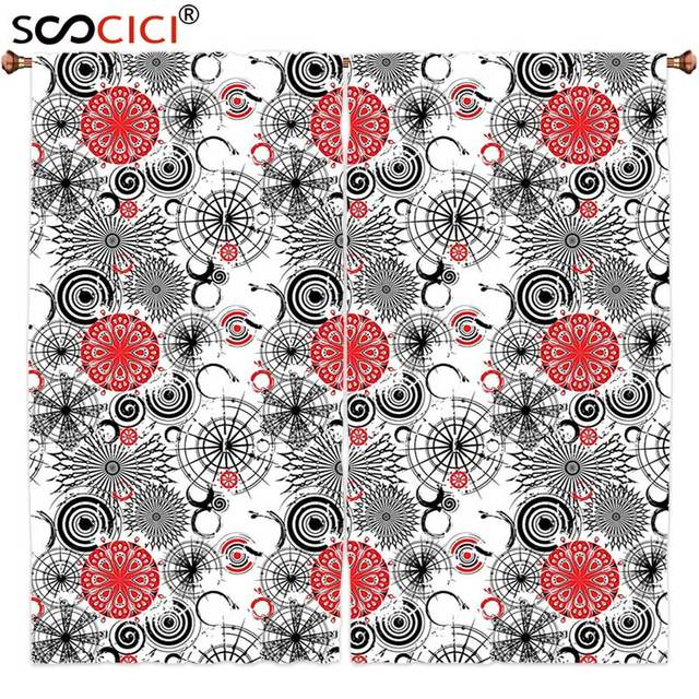 window curtains treatments 2 panels red and black grunge street art