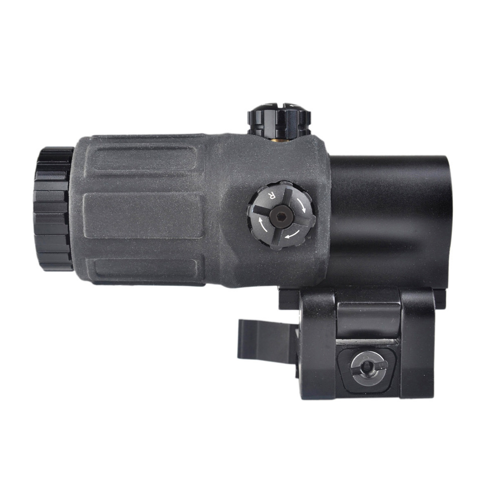 New OPTICS Airsoft 3X Magnifier with Switch to Side STS Quick Detachable / QD Mount (Black/Sand)