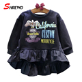 Girls Brand T Shirts 2016 New Autumn Fashion Letter Printing Children T Shirt Long Sleeve O-neck Baby Gril Clothes 6378W