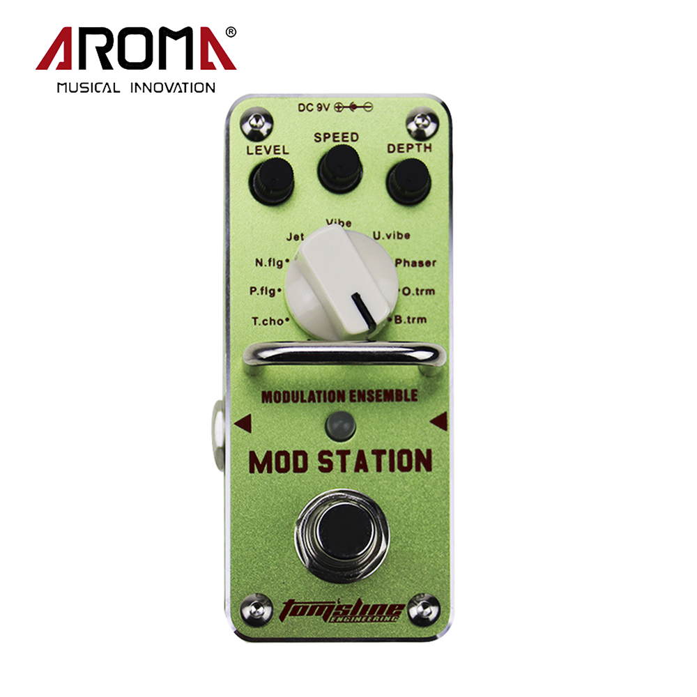 AROMA AMS-3 Mod Station 11 Classic Modulation ELectric Guitar Effect Pedal With True Bypass aroma aos 3 octpus polyphonic octave electric guitar effect pedal mini single effect with true bypass