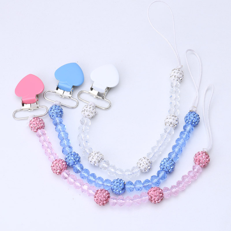 купить Crystal Baby Pacifier Clips Soother Holder Anti Folder Pacifier Clip Chain Dummy Nipple Holder Baby Pram Hook Hanging Strap по цене 123.08 рублей