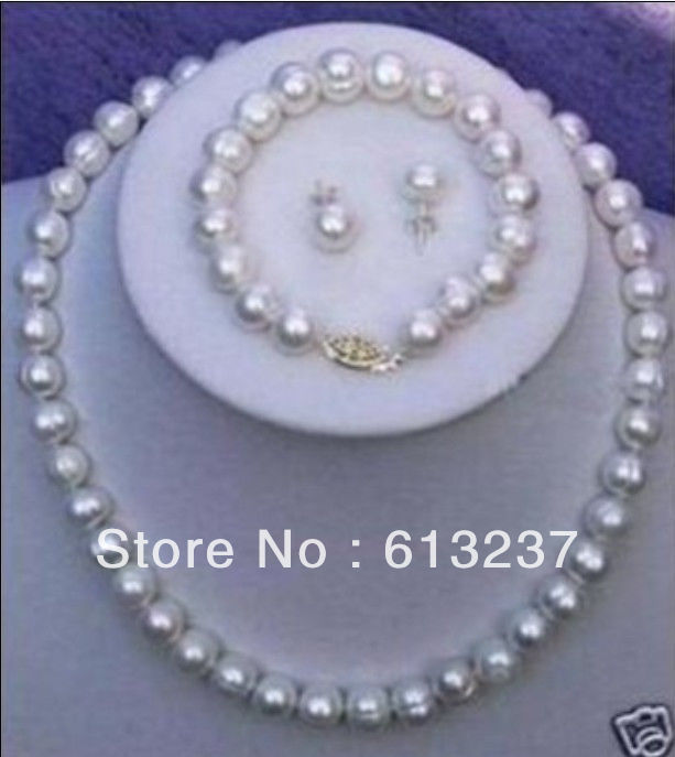 hot free Shipping new 2014 Fashion Style diy 9-10mm White Cultured Pearl Necklace Bracelet Earring Set MY4551