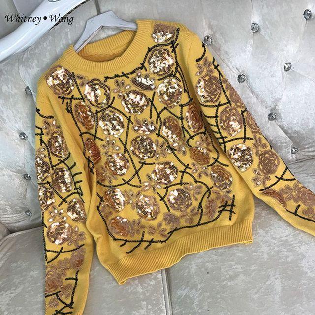 WHITNEY Ван 2017 осень-зима уличной моды цветочный Блёстки свитер Для женщин пуловер тянуть Femme джемпер
