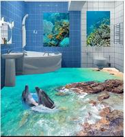 3d pvc flooring custom photo Self adhesive picture wall sticker underwater world dolphins rock painting 3d room murals wallpaper