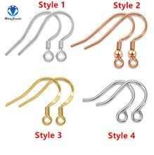 Купить с кэшбэком MINGXUAN 5pcs/lot 925 Silver Ear Jewelry Hook Bowl Earring Space DIY 4 Colors Earrings Pure Silver Earring Settings 4 Styles