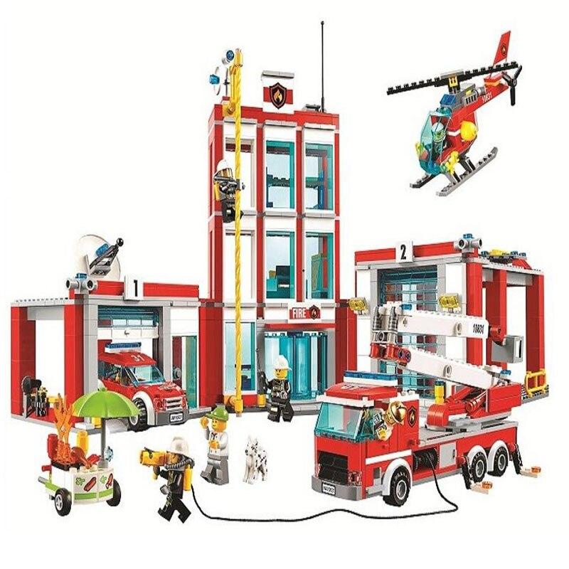 958 60110 шт. город серии пожарная станция Модель Building Block кирпичная игрушка для детей подарок на день рождения 10831