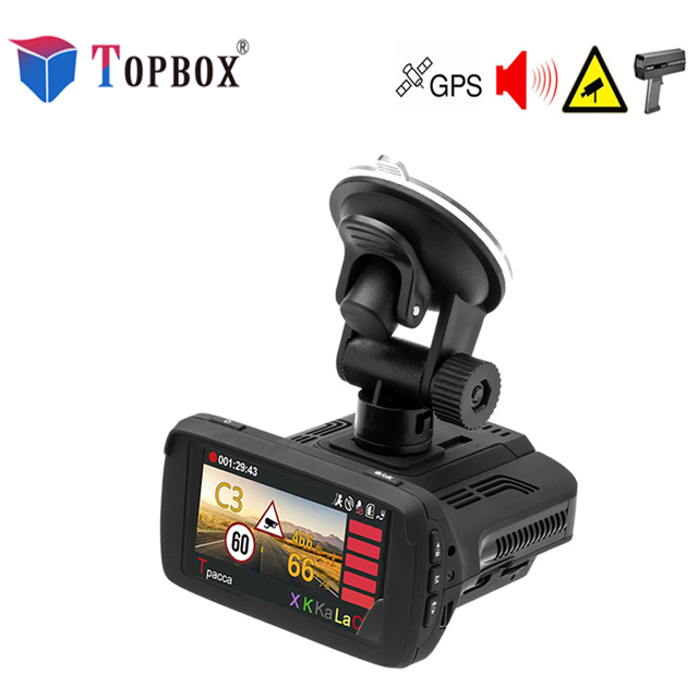 Topbox Radar Detectors 3 In 1 CAR DVR GPS Camera Logger Dash Cam Radar Detector for Russia Laser 2017 Ambarella 1080p Detector