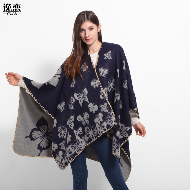 YI LIAN Brand New Winter Cotton Lady Shawl Trendy Thick Square Scarves Butterfly Printed Women Pashmina And Scarf LA052