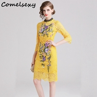 2019 Summer Heavy Work Flower Embroidery Lace Dress Women Yellow Causal Slim Corchet Hollow Out Bodycon Dress Vintage Vestidos