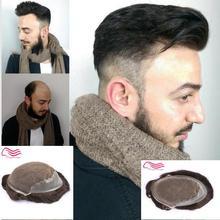 Tsingtaowigs парик из человеческих волос, замена волос, Q6 основа кружева с кожей сбоку и сзади парик волос, мужчины парик