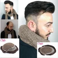 Tsingtaowigs Human hair toupee , hair replacement , Q6 base lace with skin side and back hair wig , men toupee !
