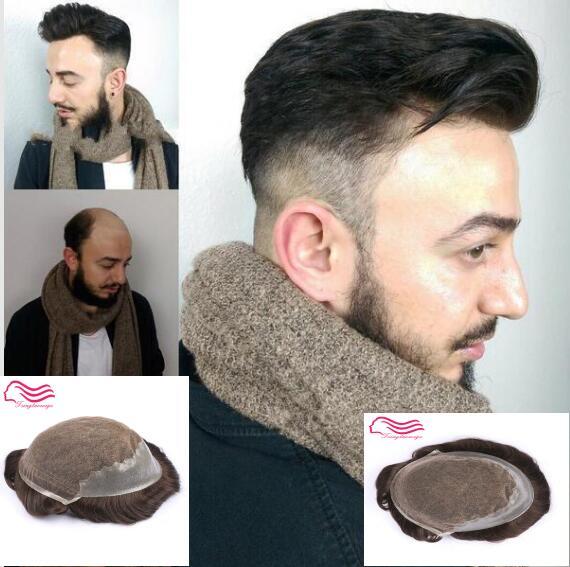 Tsingtaowigs cabelo Humano, recolocação do cabelo, Q6 base de peruca do laço com o lado da pele e para o cabelo para trás, homens peruca!