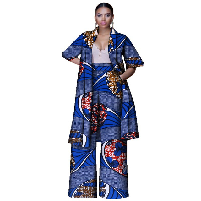 Fashion African Print Clothing for Women Tops and Wide Pants Africa  clothing 2 Pieces Pants Set Plus Size African Women Clothes acd16b6b8151