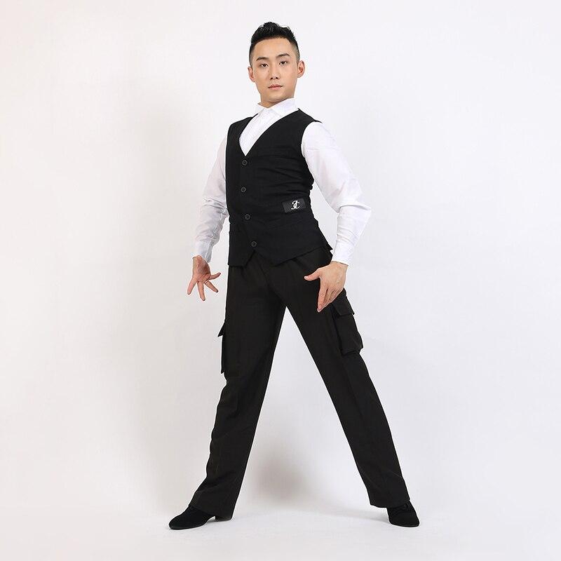 Hommes salle de bal Latin haut de danse Standard gilet Gentleman Latino danse vêtements pas y compris un pantalon pour Cha Cha Rumba Cowboy
