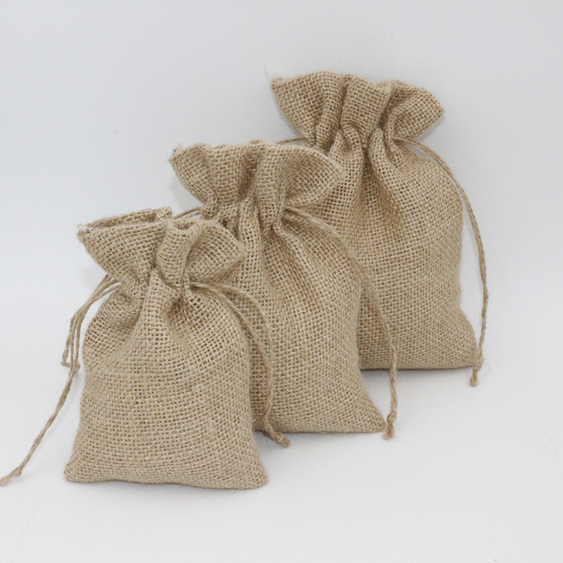 5Pcs 10x15cm Drawstring Vintage Natural Burlap Hessia Candy Bags Wedding Party Favor Small Pouch Jute Packaging Bags