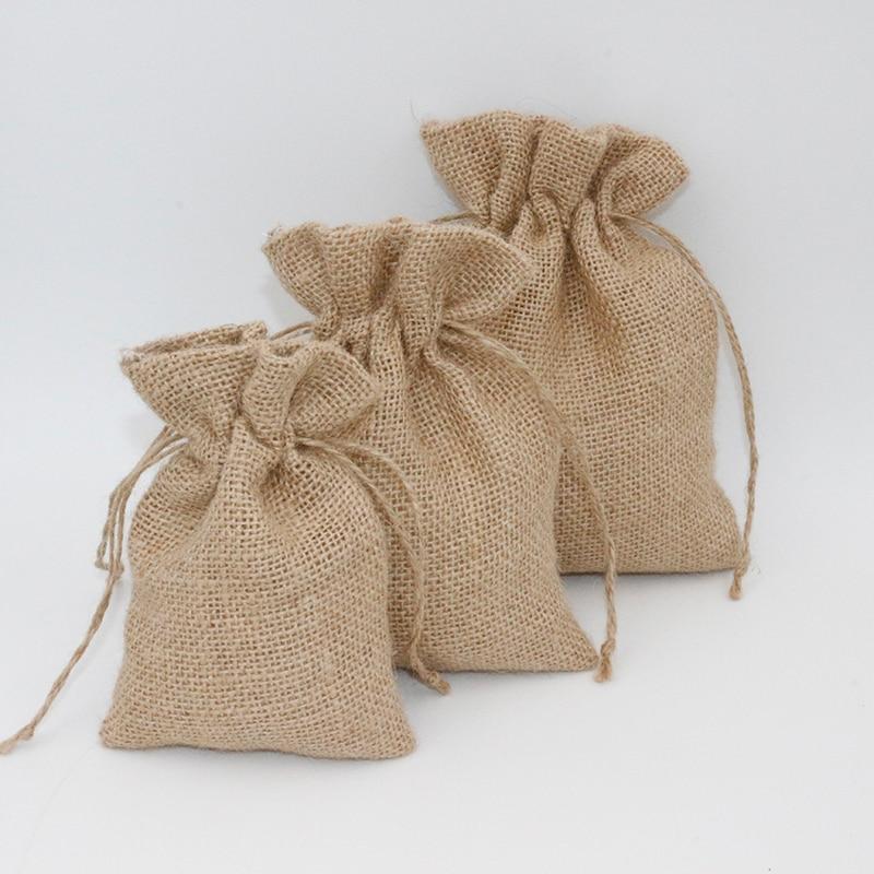 5Pcs 10x15cm Drawstring Vintage Natural Burlap Hessia Candy Bags Wedding Party Favor Small Pouch Jut