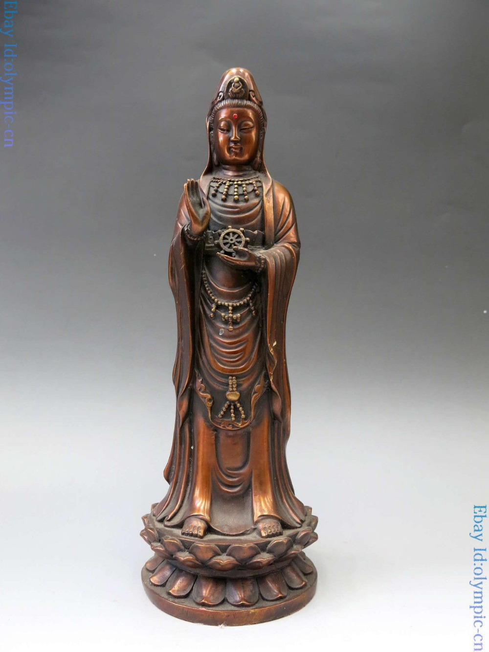 China bronze sculpture red carved fine copper buddhism Kwan yin buddha Statue