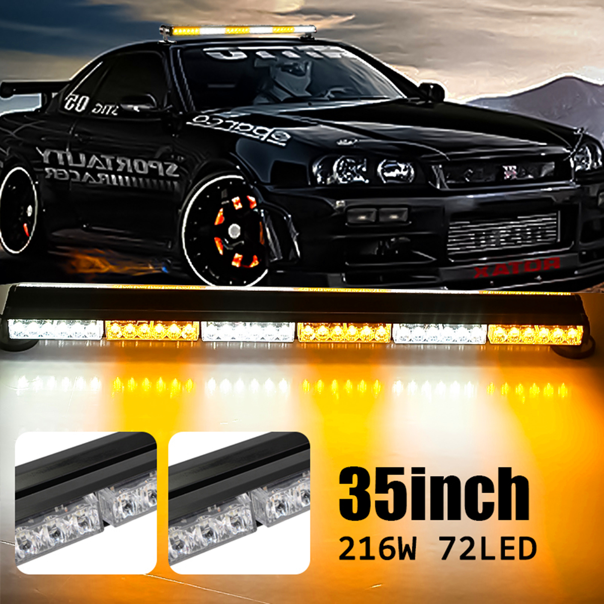 Emergency Light 35 216W 72LED Style Double Side Work Light Bar Beacon Warn Strobe Lights Amber White Strobe Professional Smuxi ...