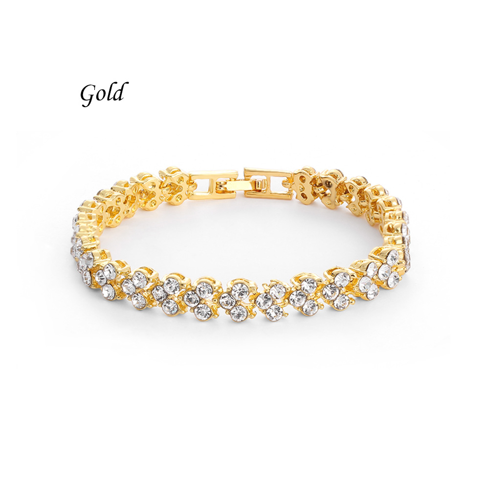 0cab29c5ecb0 1PC Fashion Women Roman Chain Clear Zircon Crystal Bangle Rhinestone Bracelet  Gift ...