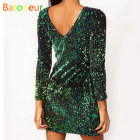 Cheap Sequin Dress Women 2017 Green Special Occasion Bodycon Dress Party paillettes Dresses Long Sleeve Mini Dresses