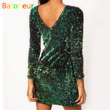 Sequin Dress Women 2017 Green Special Occasion Bodycon Dress Party paillettes Dresses Long Sleeve Mini Dresses