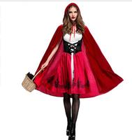 3XL Plus Size Little Red Riding Hood Costume for Women Fancy Adult Halloween Dress&Cloak Cosplay Costumes Outfit For Party