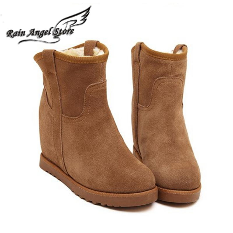 11.11 Sale Price Fur Leather Boots Women Winter Warm Cotton Shoes Female Hidden Wedges Increased Ankle Boots Suede