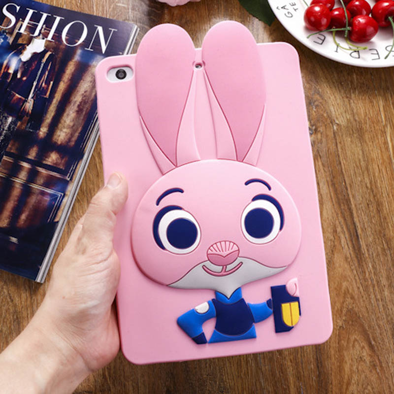 Tablet Case For ipad 2017 9.7 inch Cute Cartoon Rabbit Kids Shockproof Silicone Rubber Stand Back Cover For ipad 2018 Case  (4)