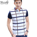 high quality Summer Men casual Plaid Stripe Polo Shirt male brand stand neck Polo shirt short sleeve shirt Asian size
