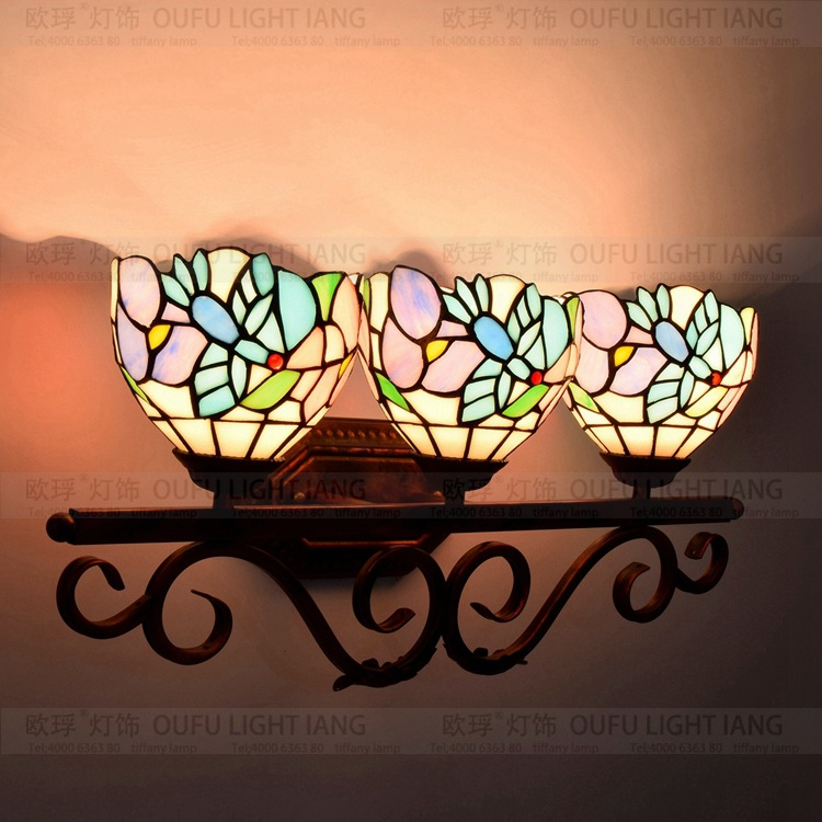 Flesh Country Flowers Tiffany vintage Stained Glass Iron wall lamp indoor bedside wall lights for home AC 110V/220V vintage wall lamp indoor lighting bedside lamps wall lights for home