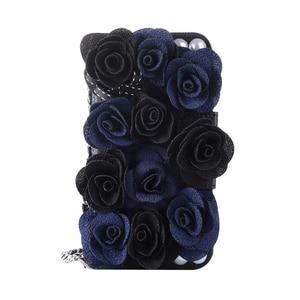 Image 3 - Rosa Telefon Tasche Für iPhone X schöne Perle Rose Blume Leder Handtasche Flip brieftasche Voller Fall abdeckung Für iPhone 7 8 6 6 S Plus 5 S SE